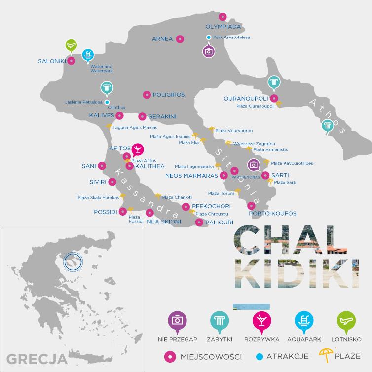 Mapa Chalkidiki
